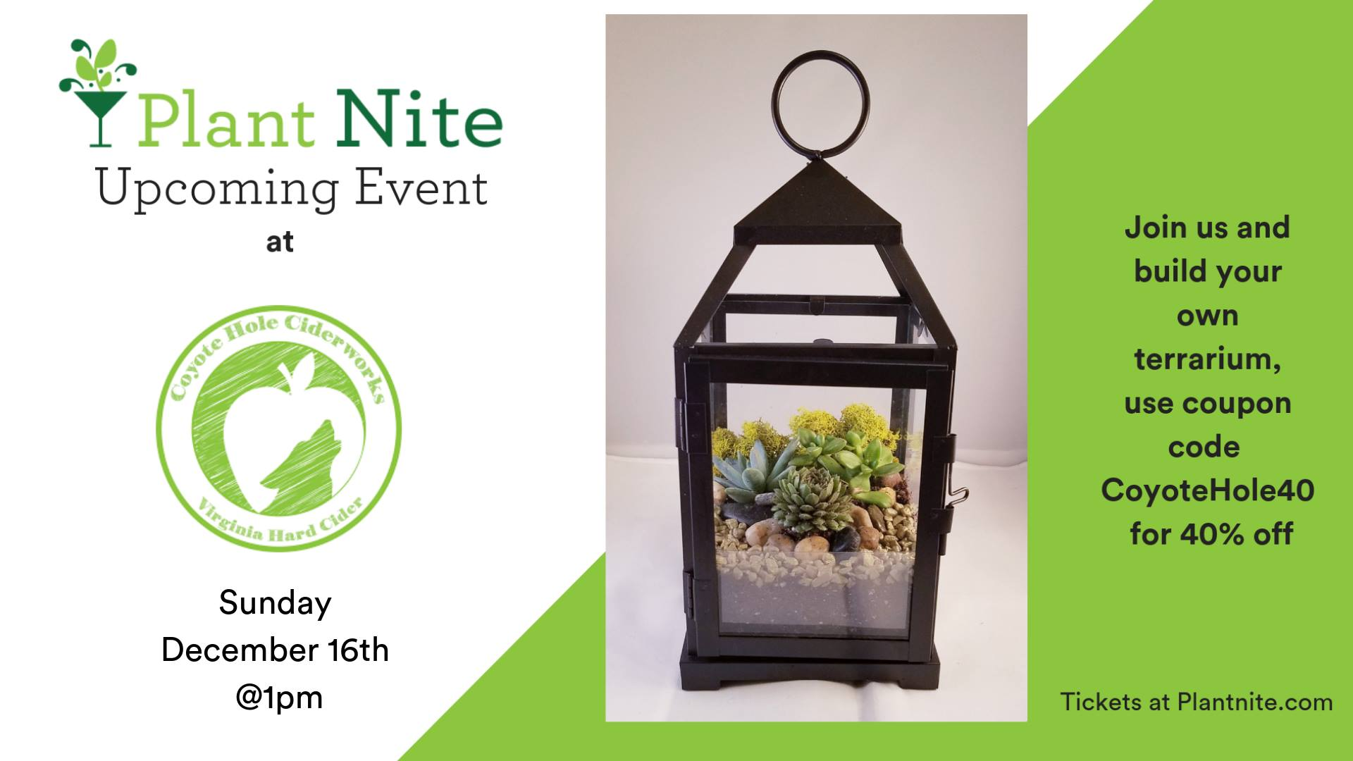 Plant Nite at Coyote Hole Ciderworks | Dockside Rentals